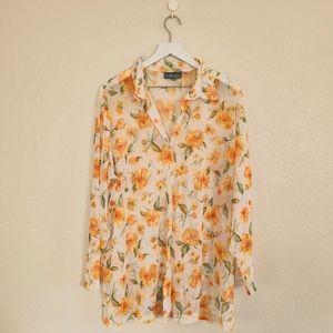 VTG   Sheer Mesh Orange Floral Button Down Tunic M